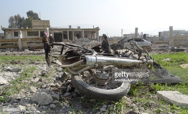 Wreckage of a motorcycle is seen after Russian airstrikes hit Mishmishan village of Idlib's Jisr alShughur district in Syria on February 07 2018...