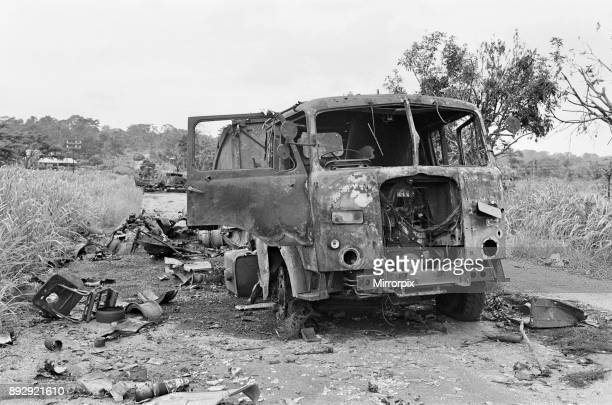 Wreckage of a Nigerian convoy on the roadside during the Biafra conflict 11th June 1968