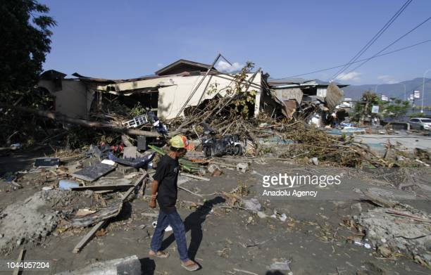 Wreckage of buildings are seen after the earthquake and tsunami on Talise beach area Palu Central Sulawesi in Indonesia on October 1 2018 The death...