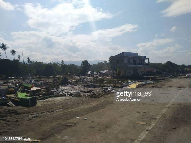Wreckage of buildings are seen after the earthquake and tsunami that hit the city of Palu in Central Sulawesi province Indonesia on September 30 2018...