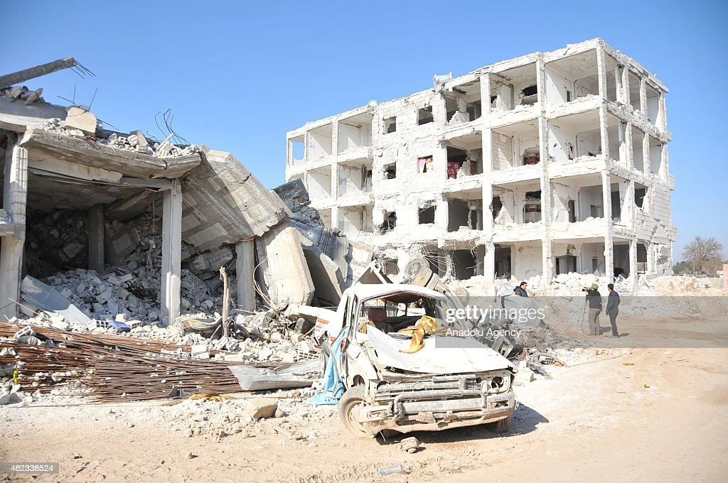 Wreckage of buildings are seen in Kobani, Syria on January 27, 2015 after it has been freed from Islamic State of Iraq and the Levant (ISIL).