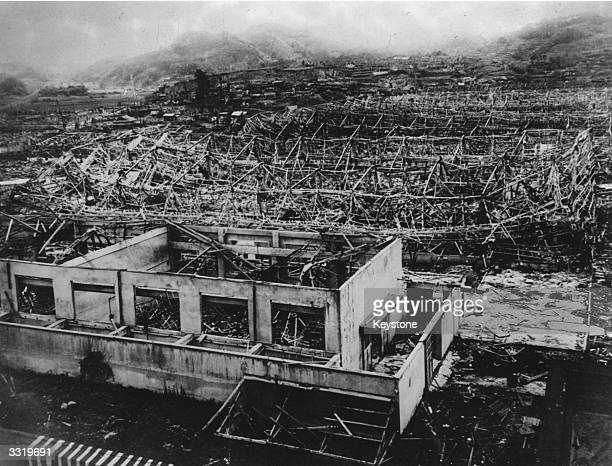 Wreckage of buildings in Hiroshima after the dropping of the atomic bomb