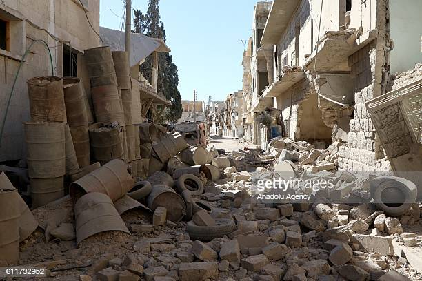 A wreckage of collapsed buildings around the Sahra Hospital are seen after a barrel bomb strike by Syrian regime forces over Sahur neighborhood of...
