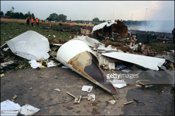 Wreckage of Concorde Flight 4590 after it crashed in Gonesse France on July 25th 2000