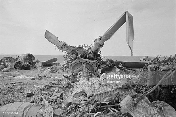 Wreckage of one of the American helicopters bombarded and destroyed by Iranian Air force jets after the abortive mission to rescue 53 American...