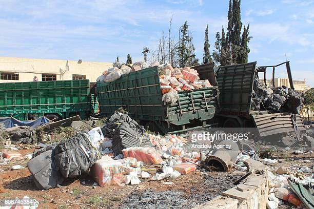 Wreckage of Syrian Red Crescent aid trucks are seen aid trucks were hit by airstrikes at Urum alKubra region in Aleppo Syria on September 202