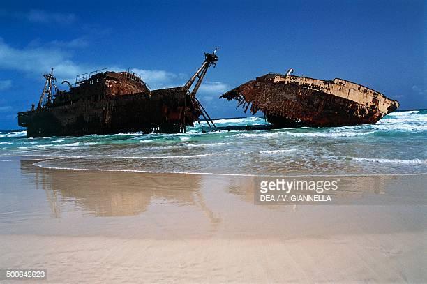 Wreckage of the freighter Cabo Santa Maria shipwrecked in 1968 on Boa Esperanca beach island of Boavista Windward Islands Cape Verde Archipelago