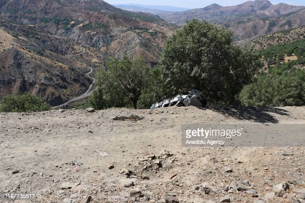 Wreckage of the vehicle carrying forest workers is seen after the PKK terrorists targeted civillians in Kulp district of Diyarbakir province, Turkey...