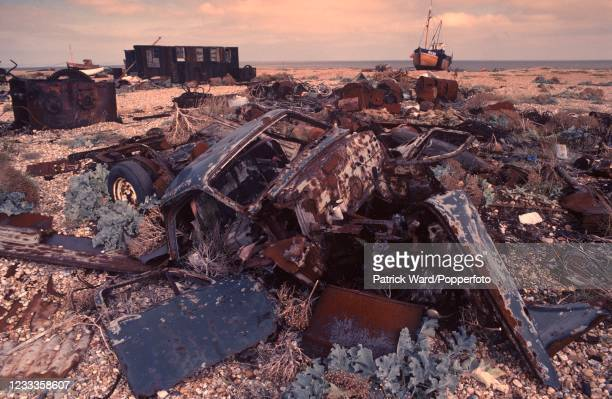 Wreckage on the beach at Dungeness, Kent, circa July 1998.