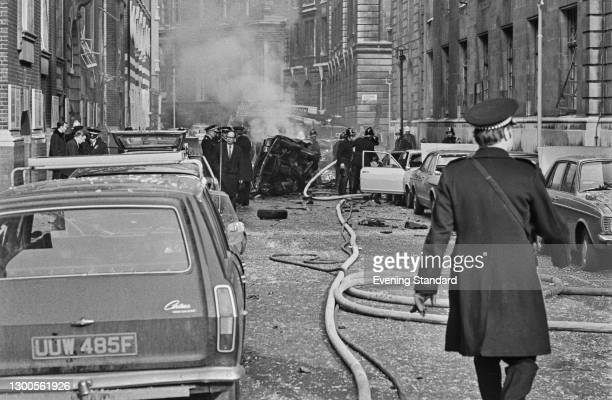 Wreckage outside the Ministry of Agriculture on Great Scotland Yard and Scotland Place in London, after a car bombing by the Provisional IRA, UK, 8th...