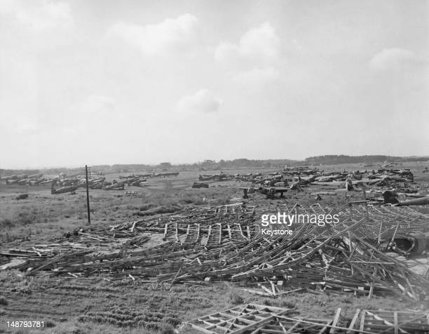 Wrecked aircraft of the Japanese 302 Naval Aviation Corps at Atsugi air base after American airraids Japan March 1945