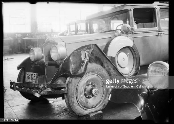 Wrecked automobile, Packard sedan, Raymond Atcheson - owner, Southern California, 1932.