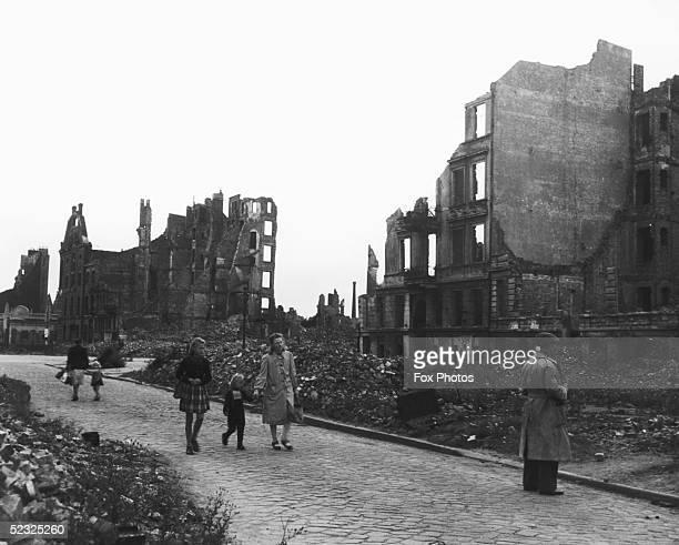 Wrecked buildings in postwar Hamburg September 1945