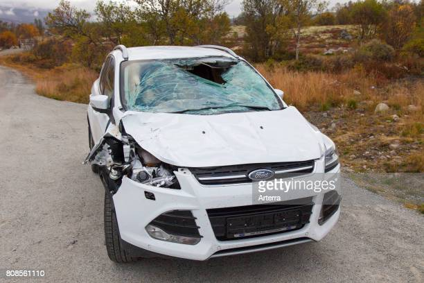 Wrecked car after collision with moose on road in Scandinavia