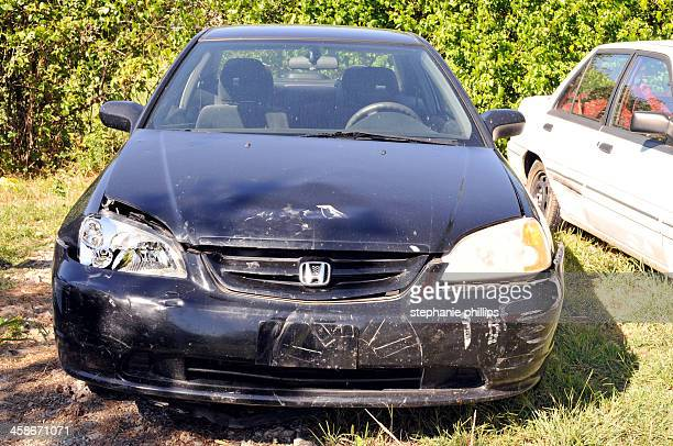 wrecked car - honda civic stock pictures, royalty-free photos & images