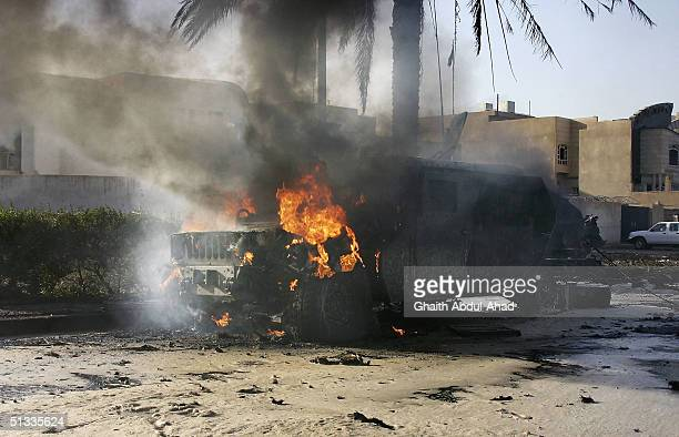 A wrecked humvee belonging to the 1st Marine Expeditionary Force is seen September 22 2004 in the Mansour district of Baghdad Iraq An explosion...