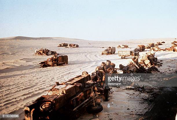 Wrecked Jordanian trucks and military equipment beside road in Judean Hills