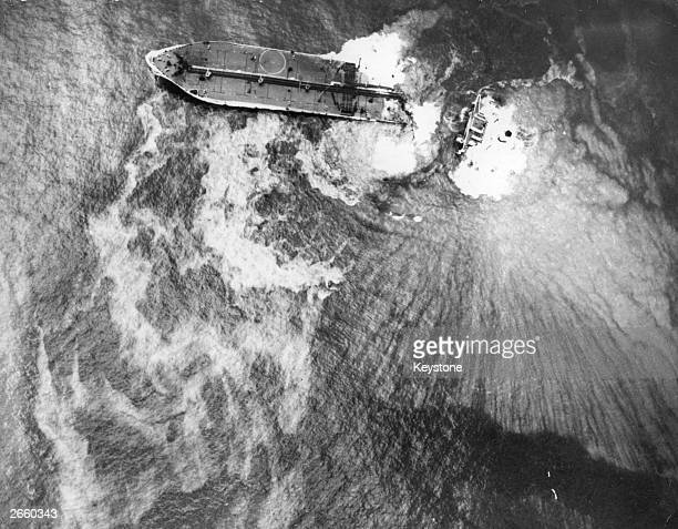 Wrecked oil tanker 'Amoco Cadiz' off the coast of Brittany. Its spilled oil devasted most of the local coastline.