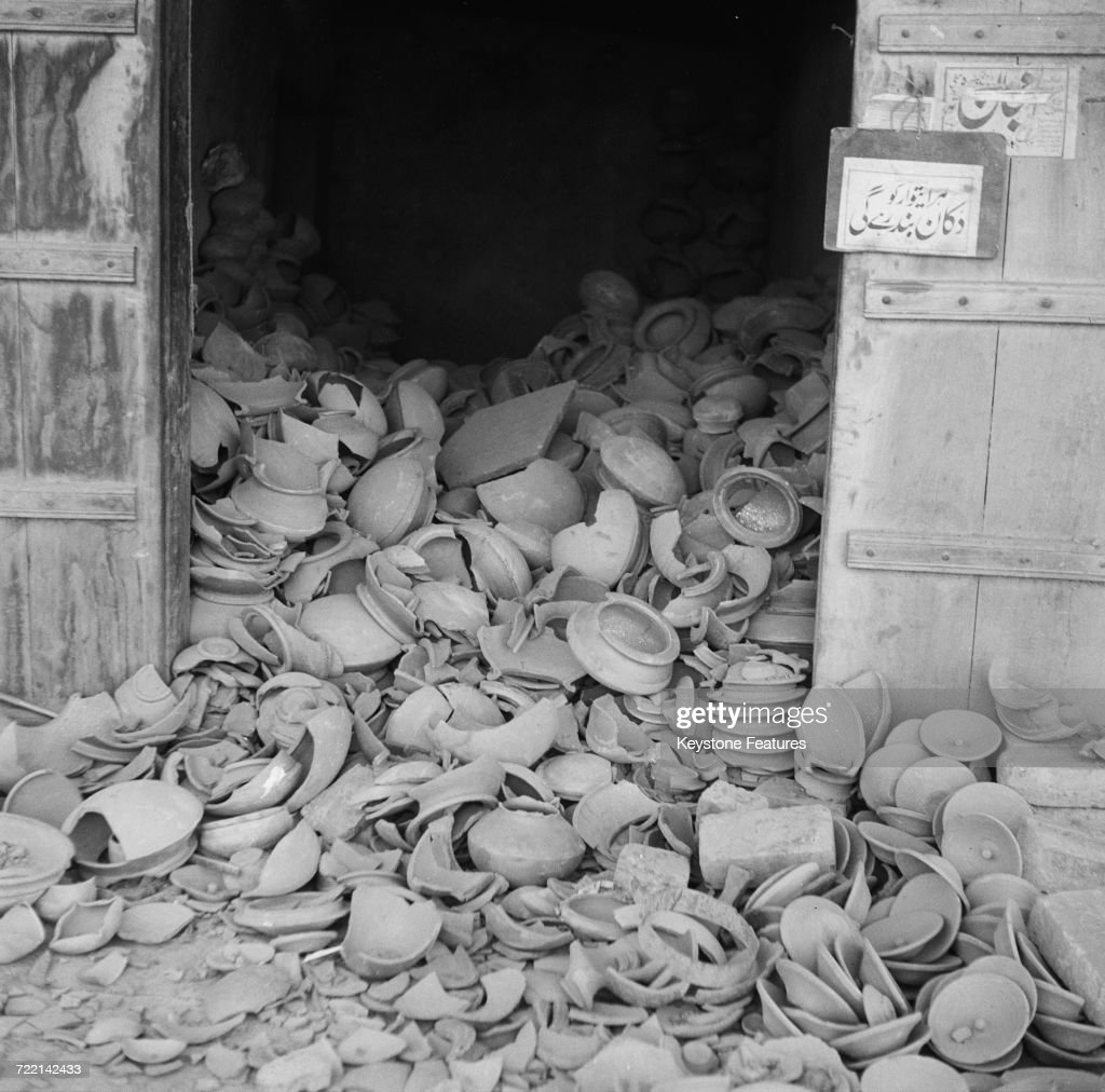A wrecked potter`s shop after communal riots in Amritsar Punjab during the Partition of British India March 1947 Fighting took place between the...