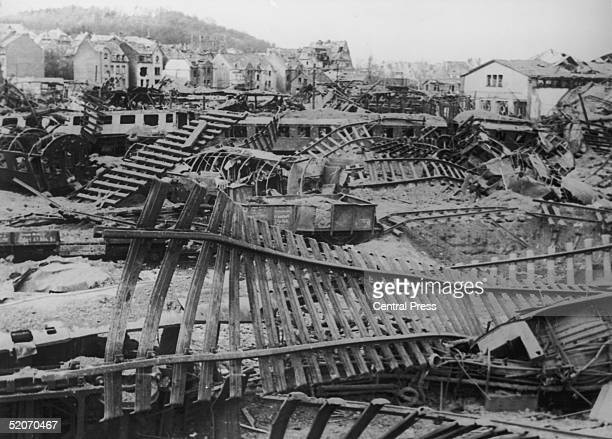 Wrecked railway marshalling yards at Limburg, Germany after allied bombing, April 1945.