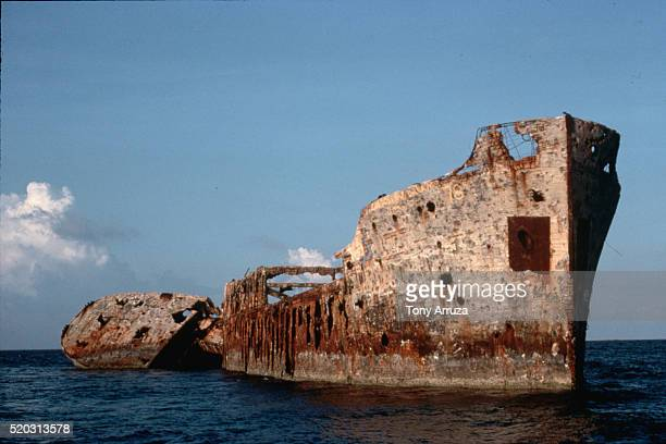 wrecked rum running ship - bimini stock photos and pictures