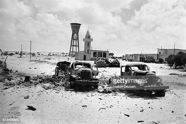 Wrecked vehicles lie abandoned as a result of the SixDay War