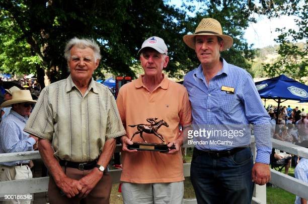 Wrecking Ball owners Stan Nicholls and Geoff Glew with Committee member Gary O'Meara after winning the Organs Coaches Stan Nicholl Sprint BM64...