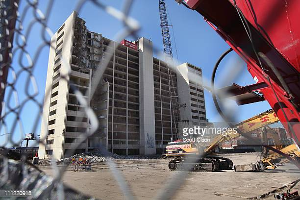 A wrecking crew begins the demolition of the last remaining highrise building from the infamous CabriniGreen housing project March 30 2011 in Chicago...
