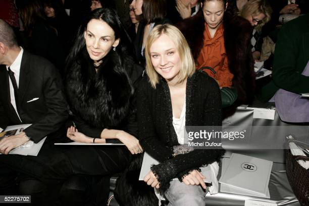 Wren Scott and actress Diane Kruger are seen at the Chanel fashion show as part of Paris Fashion Week Ready To Wear Autumm/Winter 2006 on March 4,...