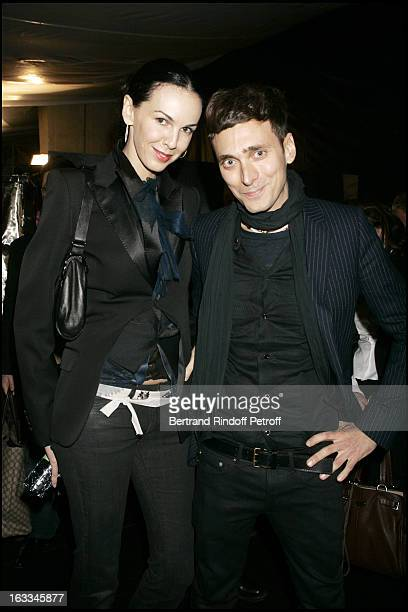 L' Wren Scott and Hedi Slimane at Front Row At Dior Catwalk Show Menswear Pret A Porter Autumn Winter 2006/2007 Collection