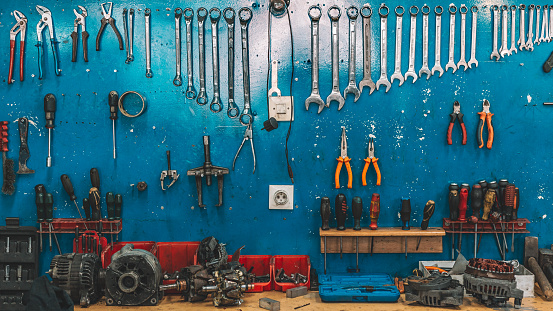 Wrenches set in the workshop 959600314