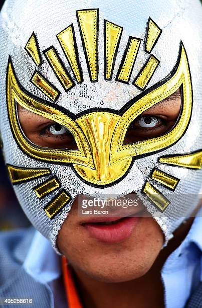 Wresler Mistico poses in the paddock before the Formula One Grand Prix of Mexico at Autodromo Hermanos Rodriguez on November 1 2015 in Mexico City...