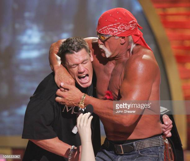 WrestleMania champion John Cena and Hulk Hogan during 2005 Teen Choice Awards Show at Gibson Amphitheatre in Universal City California United States
