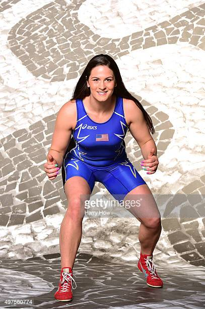 Wrestler Adeline Gray poses for a portrait at the USOC Shoot for Rio2016 at Quixote Studios on November 17 2015 in Los Angeles California
