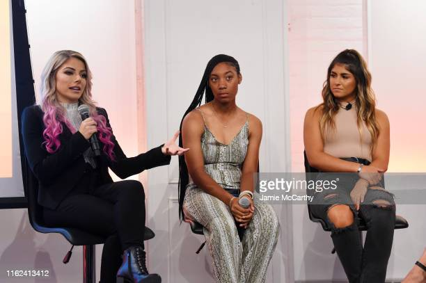 WWE wrestler Alexa Bliss professional baseball player Mo'ne Davis and NASCAR driver Hailie Deegan participate in a panel discussion during the 2019...