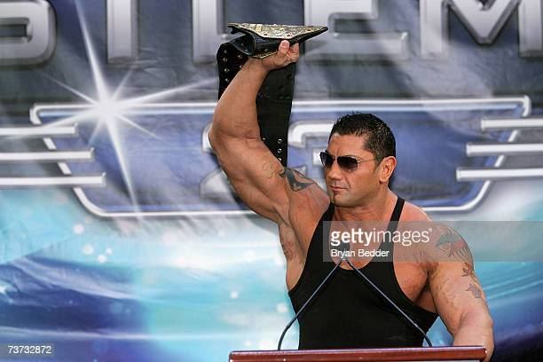 Wrestler Batista speaks at the press conference held by Battle of the Billionaires to announce details of Wrestlemania 23 at Trump Tower on March 28...