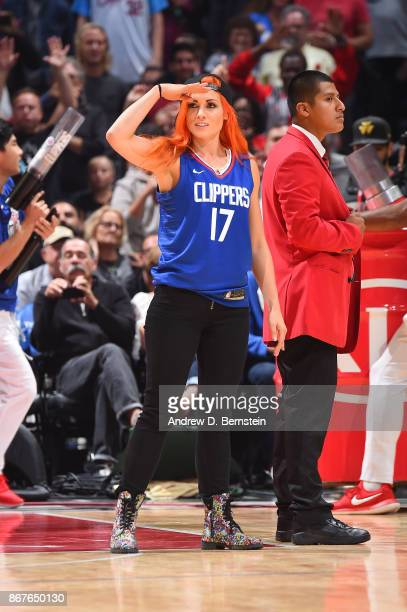 Wrestler Becky Lynch attends the game between the Detroit Pistons and the LA Clippers on October 28 2017 at STAPLES Center in Los Angeles California...
