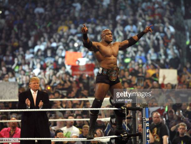 WWE wrestler Bobby Lashley and Donald Trump get the crowd pumped up for the main event of the night 'Hair vs Hair' Donald Trump vs Vince McMahon...