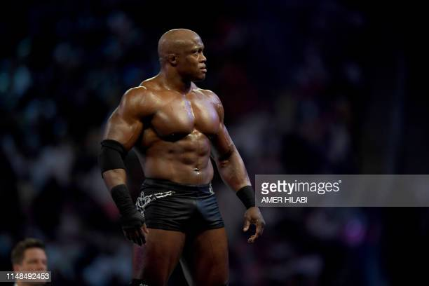 Wrestler Bobby Lashley is pictured on the ring during the World Wrestling Entertainment Super Showdown event in the Saudi Red Sea port city of Jeddah...