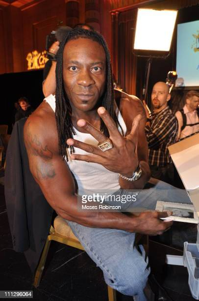 Wrestler Booker T attends WWE's 4th annual WrestleMania art exhibit and auction at The Egyptian Ballroom at Fox Theatre on March 30 2011 in Atlanta...