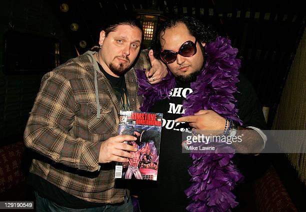 Wrestler Brimstone and Ed 'Luscious' Castillo attend ZO2's Rock Asylum Benefit Concert at the Hiro Ballroom at The Maritime Hotel on October 13 2011...