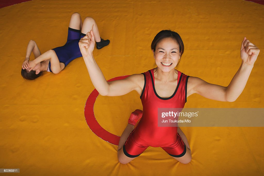 Wrestler Celebrating : Stock Photo