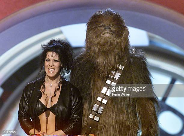 Wrestler Chyna and Chewbacca at the Nickelodeon's 14th Annual Kids' Choice Awards at Barker Hanger in Los Angeles CA Saturday April 21 2001
