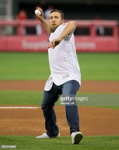 Wrestler Daniel Bryan throws out the first pitch prior to the game between the Pittsburgh Pirates and Philadelphia Phillies at Citizens Bank Park on...