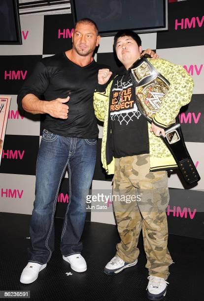WWF wrestler Dave Batista appears at fan event at HMV Shibuya on March 5 2009 in Tokyo Japan