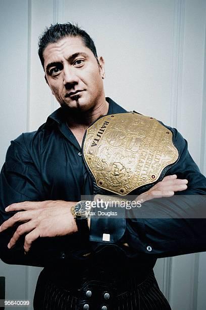 Wrestler Dave Batista poses for a portrait shoot in Milan on October 6 2005