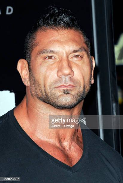 Wrestler Dave Bautista arrives for 'The Thing' Los Angeles Premiere Arrivals held at AMC Universal City Walk on October 10 2011 in Universal City...