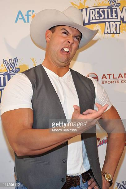 Wrestler David Hart Smith attends WWE's 4th annual WrestleMania art exhibit and auction at The Egyptian Ballroom at Fox Theatre on March 30 2011 in...