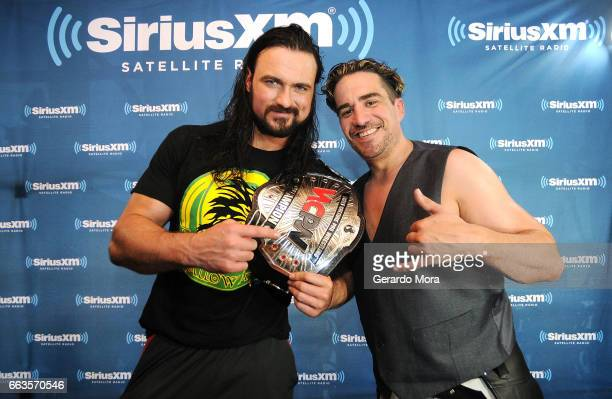Wrestler Drew Galloway and Larry Dallas pose during SiriusXM's Busted Open Live From WrestleMania 33 on April 1 2017 in Orlando City