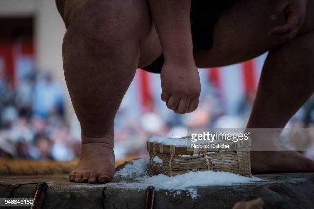 Wrestler grabs salt during 'Honozumo' ceremonial on April 16, 2018 in Tokyo, Japan. This annual offering of a Sumo Tournament to the divine at the...